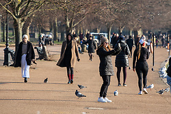 © Licensed to London News Pictures. 07/01/2021. London, UK. Police patrol Hyde Park in London as members of the public enjoy a walk in the park on the 2nd day of lockdown as cases continue to rise throughout the UK. This week, Prime Minister Boris Johnson plunged England into another lockdown as he ordered schools to close and office workers to work from home as the government ramps up vaccinations with the Oxford Covid-19 vaccine. Photo credit: Alex Lentati/LNP