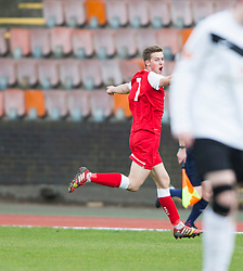 Brora Rangers Martin McLean celebrates after scoring their goal.<br /> Edinburgh City 1 v 1 Brora Rangers, 1st leg, Pyramid Playoffs at Meadowbank, 25/4/2015.