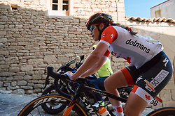 Karol-Ann Canuel (CAN) battles up the cobbled climb at the 2020 Clasica Feminas De Navarra, a 122.9 km road race starting and finishing in Pamplona, Spain on July 24, 2020. Photo by Sean Robinson/velofocus.com