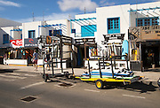 Surf shops in village of Caleta de Famara, Lanzarote, Canary islands, Spain