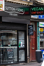 London's first totally vegan chippy in Hackney, North East London. Hackney, London, October 08 2018.