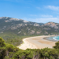The sweeping golden sands of Norman Beach, located at Tidal River campground, Wilsons Promontory National Park, Victoria, Australia.