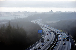 © Licensed to London News Pictures. 28/12/2016<br /> M25 clockwise at Dunton Green near Sevenoaks.<br /> Freezing foggy weather this morning in Sevenoaks,Kent<br /> Photo credit :Grant Falvey/LNP