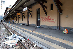 """07.05.2016, Grenzübergang, Brenner, ITA, Demonstration gegen Grenzsicherungsmaßnahmen am Brenner. Linksaktivisten rufen unter dem Motto """"Tag des Kampfes"""" zur Demonstration am Brenner auf, im Bild Bahnsteig am Bahnhof Brenner nach den Ausschreitungen // Left activists call under the slogan """"Day of the Fight"""" to Demonstration at the border """"Brenner"""". The demonstration is directed against the planned border security measures at the border from Italy to Austria, The Brenner Pass is one of the most important border crossings in Europe. Brenner, Italy on 2016/05/07. EXPA Pictures © 2016, PhotoCredit: EXPA/ Johann Groder"""