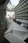 Oasis of the Seas at the shipyard in Turku, Finland where she is being built..Photos show Royal Caribbean's latest  ship 2 months before completion. ..View from a stateroom balcony.
