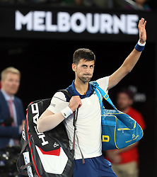 MELBOURNE, Jan. 22, 2018  Novak Djokovic of Serbia left the court after the men's singles fourth round match against Chung Hyeon of South Korea at Australian Open 2018 in Melbourne, Australia, Jan. 22, 2018. Djokovic lost by 0-3. (Credit Image: © Li Peng/Xinhua via ZUMA Wire)
