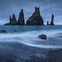 Even in the absence of light, nature finds a way to show her beauty.  Taken at the black sand beach in Vik, Iceland.