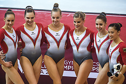 October 27, 2018 - Doha, Qatar - The team from Germany, CARINA KROELL, SOPHIE SCHEDER, SARAH VOSS, ELISABETH SEITZ, LEAH GRIESSER, and KIM BUI, pose for photos following their session during the second day of preliminary competition held at the Aspire Dome in Doha, Qatar. (Credit Image: © Amy Sanderson/ZUMA Wire)