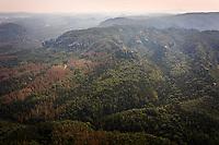 Aerial view of Elbe Sandstone Mountains in National Park Sächsische Schweiz, Germany.