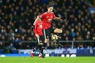 Nemanja Matic of Manchester United controls the ball. Premier league match, Everton v Manchester Utd at Goodison Park in Liverpool, Merseyside on New Years Day, Monday 1st January 2018.<br /> pic by Chris Stading, Andrew Orchard sports photography.