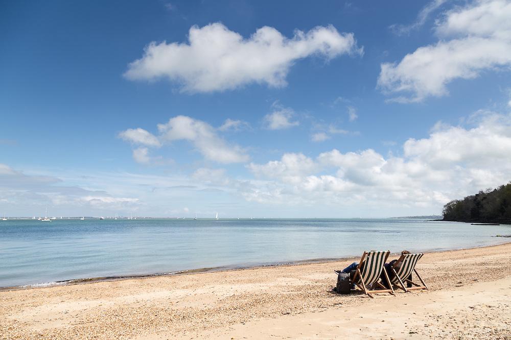 Desk Chairs on Osborne Beach, East Cowes.
