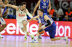 15.04.2015, Palacio de los Deportes stadium, Madrid, ESP, Euroleague Basketball, Real Madrid vs Anadolu Efes Istanbul, Playoffs, im Bild Real Madrid´s Rudy Fernandez and Anadolu Efes´s Matt Janning // during the Turkish Airlines Euroleague Basketball 1st final match between Real Madrid vand Anadolu Efes Istanbul t the Palacio de los Deportes stadium in Madrid, Spain on 2015/04/15. EXPA Pictures © 2015, PhotoCredit: EXPA/ Alterphotos/ Luis Fernandez<br /> <br /> *****ATTENTION - OUT of ESP, SUI*****