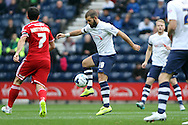 John Welsh of Preston North End controls the ball. Skybet football league championship match, Preston North End v Cardiff City at the Deepdale stadium in Preston, Lancashire on Saturday 17th October 2105.<br /> pic by Chris Stading, Andrew Orchard sports photography.