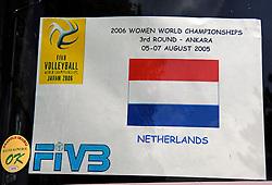 07-08-2005: VOLLEYBAL: WK KWALIFICATIE: OCHTEND TRAINING NEDERLAND: ANKARA TURKIJE<br /> <br /> <br /> <br /> ©2005-WWW.FOTOHOOGENDOORN.NL