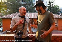 Talk Shop Podcaster Danger Dan interviews Biltwell photographer Geoff Kowalchuk during Motorcycle Sherpa's Ride to the Heavens motorcycle adventure in the Himalayas of Nepal. Riding from Daman back to Kathmandu. Wednesday, November 13, 2019. Photography ©2019 Michael Lichter.
