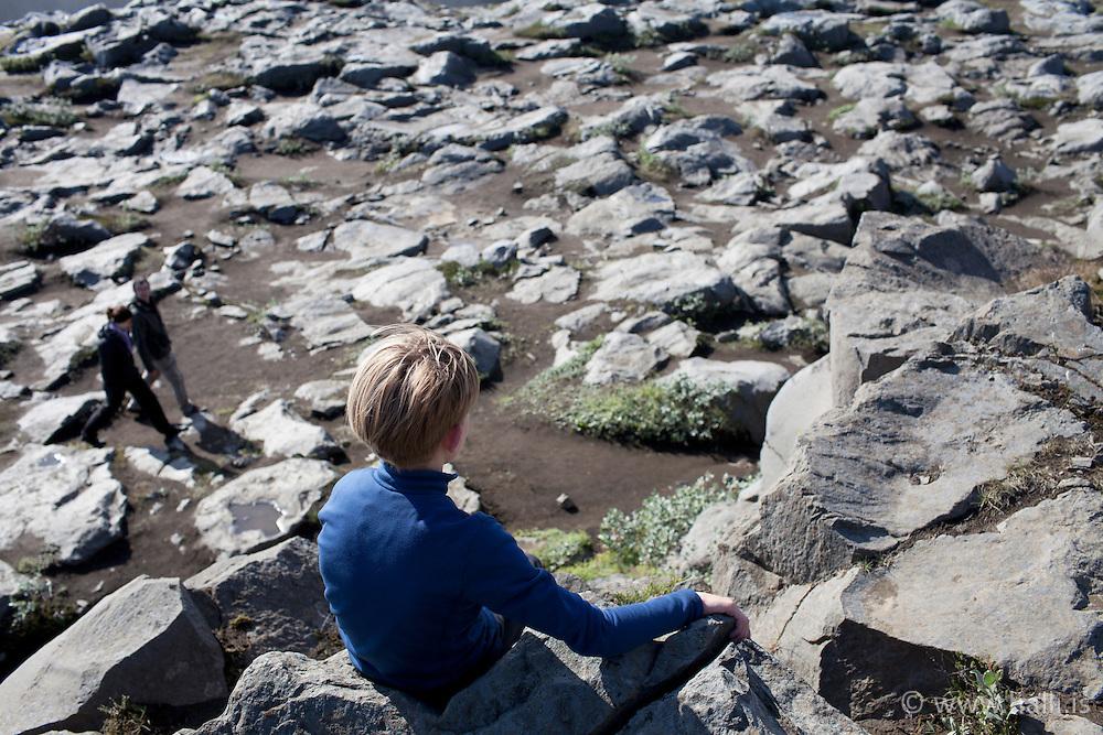 Young boy near Dettifoss, Iceland - Jurjen Sindri Sigurðarson við Dettifoss