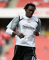 Photo: Steve Bond.<br />Arsenal v Derby County. The FA Barclays Premiership. 22/09/2007. Claude Davis warming up at the Emirates Stadium