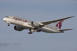 © under license to London News Pictures. QATAR Airways Boeing 787 Dreamliner Departs London Heathrow Airport<br /> <br /> Photo credit should read IAN SCHOFIELD/LNP