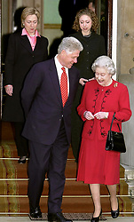 US President Bill Clinton meets Britain's Queen Elizabeth II at Buckingham Palace in London.     *...Mr Clinton, who had been staying at Chequers with his wife and daughter, has welcomed the prospect of electoral reform to prevent a repeat of the uncertainty and confusion which dogged the US election.  Also pictured is his wife Hillary (left) and daughter Chelsea.