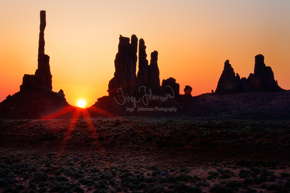 First light at Yei-bi-Chai rocks in Monument Valley