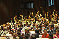 August 21, 2017 - Kathmandu, NP, Nepal - Party Members of CPN (UML) supports by raising hand as the Legislature Parliament failed to endorse the Nepal's Constitution (second amendment) Bill due to lack of two thirds majority on Monday, August 21, 2017. A total of 347 votes were cast in favour of the proposal while 206 members voted against it. (Credit Image: © Narayan Maharjan/NurPhoto via ZUMA Press)