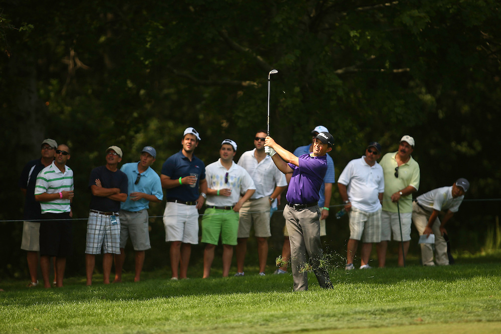 FARMINGDALE, NY - AUGUST 25:  Greg Chalmers of Australia plays an approach shot during the third round of the 2012 Barclays at the Black Course at Bethpage State Park in Farmingale, New York on August 25, 2012. (Photograph ©2012 Darren Carroll) *** Local Caption *** Greg Chalmers