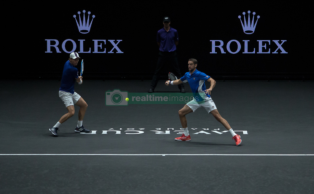 September 24, 2017 - Prague, Czech Republic - Tomas Berdych and Marin Cilic of Team Europe during there mens doubles match between John Isner and Jack Sock of Team World on the final day of the Laver cup on September 24, 2017 in Prague, Czech Republic. The Laver Cup consists of six European players competing against their counterparts from the rest of the World. Europe will be captained by Bjorn Borg and John McEnroe will captain the Rest of the World team. The event runs from 22-24 September. (Credit Image: © Robert Szaniszlo/NurPhoto via ZUMA Press)