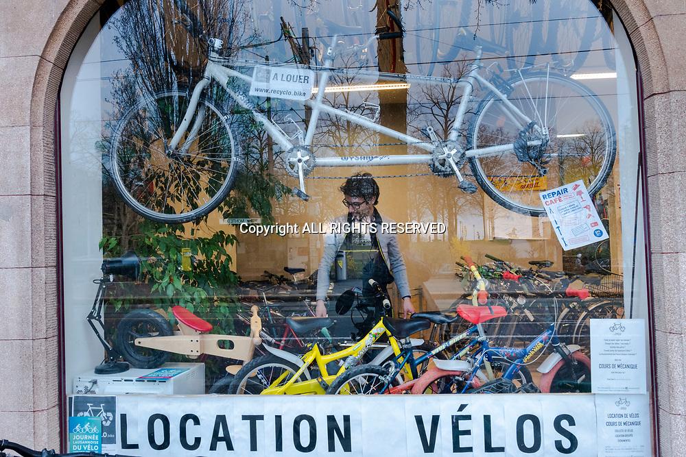 Lausanne, avril 2019. La Rustine reCYCLO bike, Avenue d'Echallens 96.  © Olivier Vogelsang
