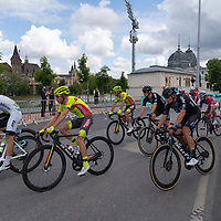 Participants compete in the final leg of the Tour de Hongrie bicycle race held in downtown Budapest, Hungary on May 16, 2021. ATTILA VOLGYI