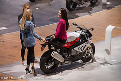 BMW Motorcycles display at the Intermot Motorcycle Trade Fair. Cologne, Germany. Thursday October 6, 2016. Photography ©2016 Michael Lichter.