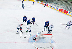 Players during first practice session of Slovenian National Ice Hockey team in Arena Stozice before 2012 IIHF World Championship DIV I Group A in Slovenia, on April 13, 2012, in Arena Stozice, Ljubljana, Slovenia. (Photo by Vid Ponikvar / Sportida.com)
