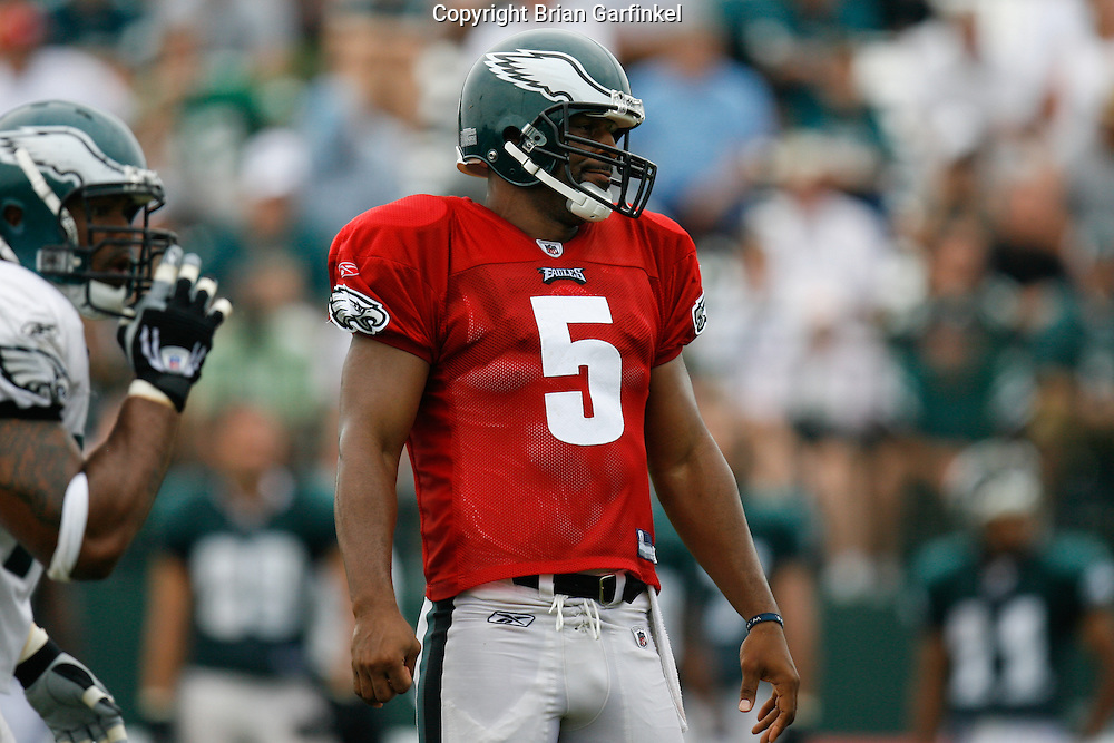 Bethlehem, Pennsylvania - Quarterback Donovan Mcnabb is disappointed after a play  at the Eagles Training camp at Lehigh University.