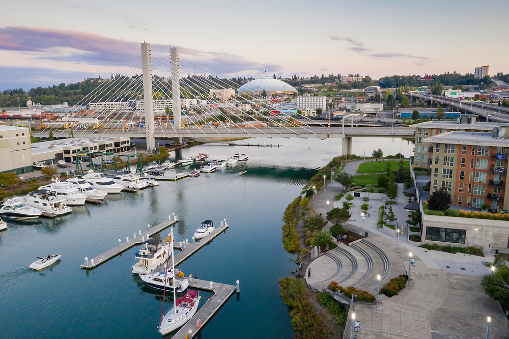 United States, Washington,Tacoma.  Thea Foss Waterway, marina, and cable-stayed SR 509 bridge (aerial view)