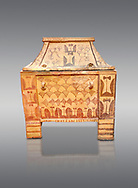 Minoan  pottery gabled larnax coffin chest with double axe and papyrus decorations,  Anthanatoi 1370-1250 BC, Heraklion Archaeological  Museum, grey background. .<br /> <br /> If you prefer to buy from our ALAMY PHOTO LIBRARY  Collection visit : https://www.alamy.com/portfolio/paul-williams-funkystock/minoan-art-artefacts.html . Type -   Heraklion   - into the LOWER SEARCH WITHIN GALLERY box. Refine search by adding background colour, place, museum etc<br /> <br /> Visit our MINOAN ART PHOTO COLLECTIONS for more photos to download  as wall art prints https://funkystock.photoshelter.com/gallery-collection/Ancient-Minoans-Art-Artefacts-Antiquities-Historic-Places-Pictures-Images-of/C0000ricT2SU_M9w
