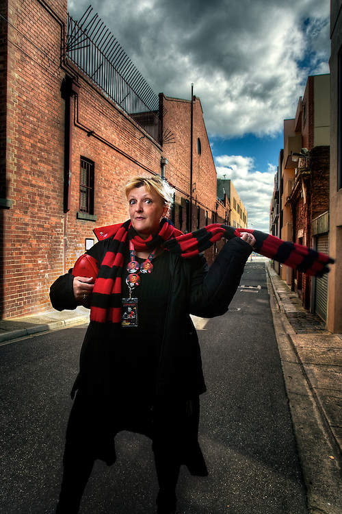Essendon Football Fan Jane Clifton. Pic By Craig Sillitoe CSZ/The Sunday Age.30/8/2011  Pic By Craig Sillitoe CSZ / The Sunday Age melbourne photographers, commercial photographers, industrial photographers, corporate photographer, architectural photographers, This photograph can be used for non commercial uses with attribution. Credit: Craig Sillitoe Photography / http://www.csillitoe.com<br /> <br /> It is protected under the Creative Commons Attribution-NonCommercial-ShareAlike 4.0 International License. To view a copy of this license, visit http://creativecommons.org/licenses/by-nc-sa/4.0/.