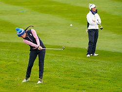Auchterarder, Scotland, UK. 14 September 2019. Saturday afternoon Fourballs matches  at 2019 Solheim Cup on Centenary Course at Gleneagles. Pictured; Georgia Hall of Team Europe plays approach on the 11th hole. Iain Masterton/Alamy Live News