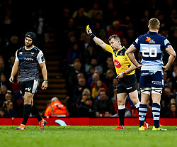 todays referee, Nigel Owens shows the yellow card to Dan Evans of Ospreys<br /> <br /> Photographer Simon King/Replay Images<br /> <br /> Guinness PRO14 Round 21 - Cardiff Blues v Ospreys - Saturday 27th April 2019 - Principality Stadium - Cardiff<br /> <br /> World Copyright © Replay Images . All rights reserved. info@replayimages.co.uk - http://replayimages.co.uk