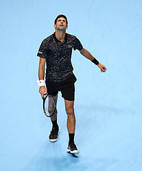 Serbia's Novak Djokovic during his singles match on day six of the Nitto ATP Finals at The O2 Arena, London.