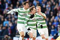 01/02/15 SCOTTISH LEAGUE CUP SEMI-FINAL<br /> CELTIC v RANGERS<br /> HAMPDEN - GLASGOW<br /> Celtic's Kris Commons (centre) celebrates his goal with team-mates Nir Bitton (left) and Leigh Griffiths