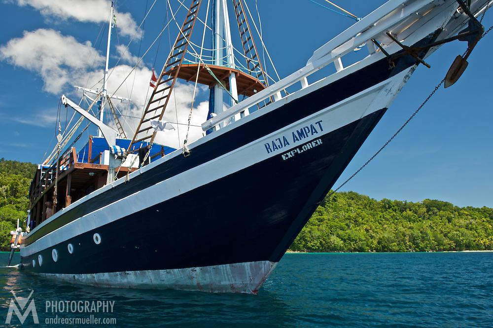 Lean bow of Raja Ampat Explorer