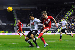 Joe Bryan of Bristol City crosses the ball - Mandatory byline: Dougie Allward/JMP - 15/12/2015 - Football - iPro Stadium - Derby, England - Derby County v Bristol City - Sky Bet Championship