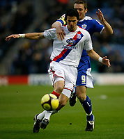 Photo: Steve Bond/Richard Lane Photography. Leicester City v Crystal Palace. E.ON FA Cup Third Round. 03/01/2009. Steve Howard (back) tries to get the ball from Jose Fonte (front)