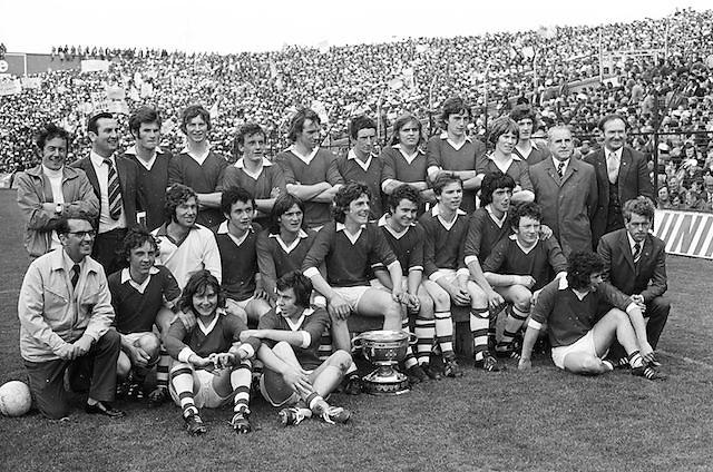 The winning Dublin team after the All Ireland Senior Gaelic Football Championship Final Dublin V Galway at Croke Park on the 22nd September 1974. Dublin 0-14 Galway 1-06.