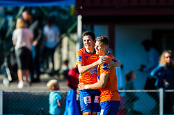 August 12, 2018 - FlorÃ, NORWAY - 180812 Sondre Brunstad Fet and Holmbert Aron Fridjonsson of Aalesund celebrates 0-2 goal during the OBOS-ligaen match between Florø and Aalesund on August 12, 2018 in Florà (Credit Image: © Marius Simensen/Bildbyran via ZUMA Press)