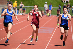 Hanover sophomore Ella Maclean pushes to the finish in the girls 100 meter dash at the NHIAA Division II track and field championship at UNH on Saturday, May 25, 2019.  (Alan MacRae/Valley News)