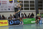Volleyball: 1. Bundesliga, SVG Lueneburg - VSG Coburg / Grub, Lueneburg, 10.02.2016<br /> Adam Kocian (Lüneburg)<br /> © Torsten Helmke