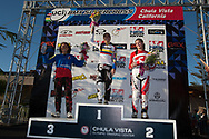 #39 (CARR Amanda) THA (3rd)  #6 (PAJON Mariana) COL (1st) and  #5 (POST Alise) USA (2nd) at the 2013 UCI BMX Supercross World Cup in Chula Vista