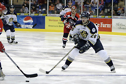 11 November 2006: B.J. Gaustad.&#xD;The Elmira Jackals met the Bloomington PrairieThunder at the U.S. Cellular Coliseum in Bloomington Illinois.<br />