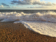 Jurassic Coast Dorset. Rough seas at Eype Beach