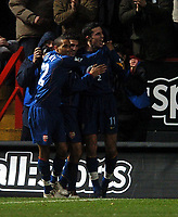 Photo: Javier Garcia/Back Page Images<br />Charlton Athletic v Arsenal, FA Barclays Premiership, The Valley 01/01/2005<br />Robin Van Persie, right, celebrates after making it 3-1 with Gael Clichy and Jose Antonio Reyes, centre
